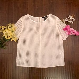 Gingham Pattern Boxy See-Though Top